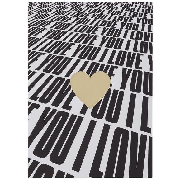 Postkarte I love you - Goldfarben/Schwarz, MODERN, Papier (10,5/14,8cm)