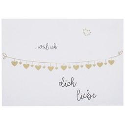 Postkarte Weil ich dich liebe - Goldfarben/Weiß, Papier (14,8/10,5cm)