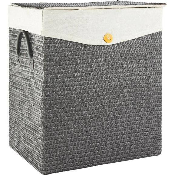 Wäschekorb Denise Grau - Grau, ROMANTIK / LANDHAUS, Kunststoff/Textil (42/49/33cm) - Mömax modern living