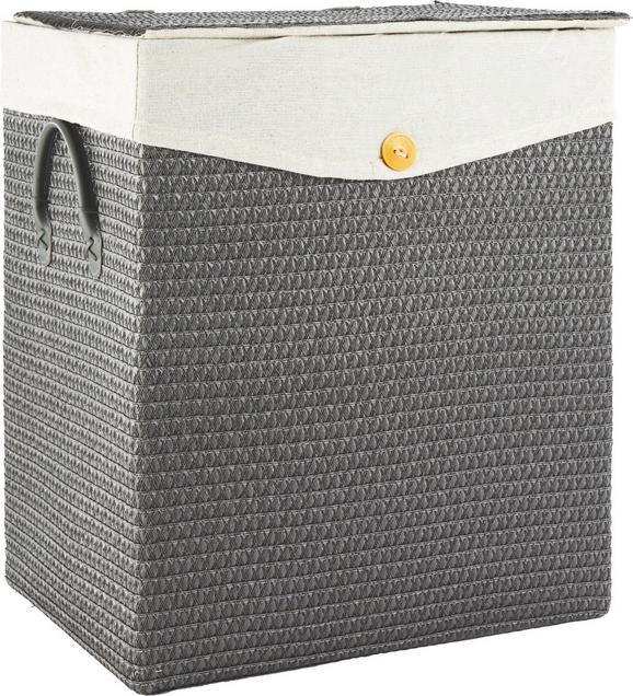 Wäschekorb Denise in Grau - Grau, ROMANTIK / LANDHAUS, Kunststoff/Textil (42/49/33cm) - MÖMAX modern living