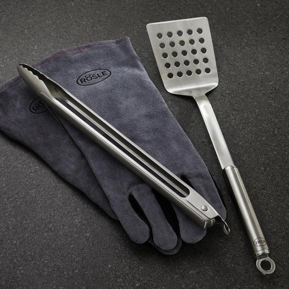 Grillbesteck Rösle 3-teilig - Edelstahlfarben, MODERN, Metall (48,5/18,7/7,3cm) - Rösle