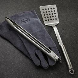 Grillbesteck Rösle 3-tlg. - Edelstahlfarben, MODERN, Metall (48,5/18,7/7,3cm) - Rösle