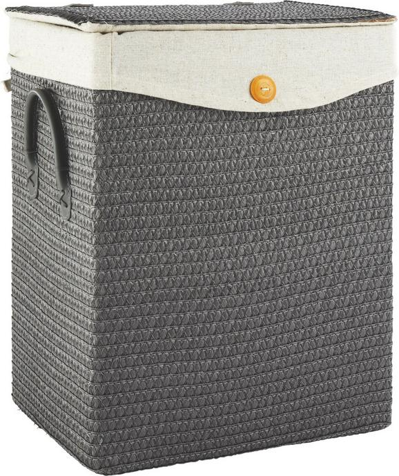 Wäschekorb Denise Grau - Grau, ROMANTIK / LANDHAUS, Kunststoff/Textil (35/44/26cm) - Mömax modern living