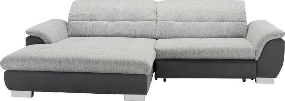Wohnlandschaft in Grau mit Bettfunktion - Chromfarben/Grau, KONVENTIONELL, Textil (180/279cm) - Modern Living