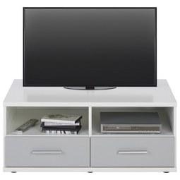TV-Element in Weiß/Hellgrau - Hellgrau/Alufarben, Holzwerkstoff/Kunststoff (92/40/59cm) - Modern Living