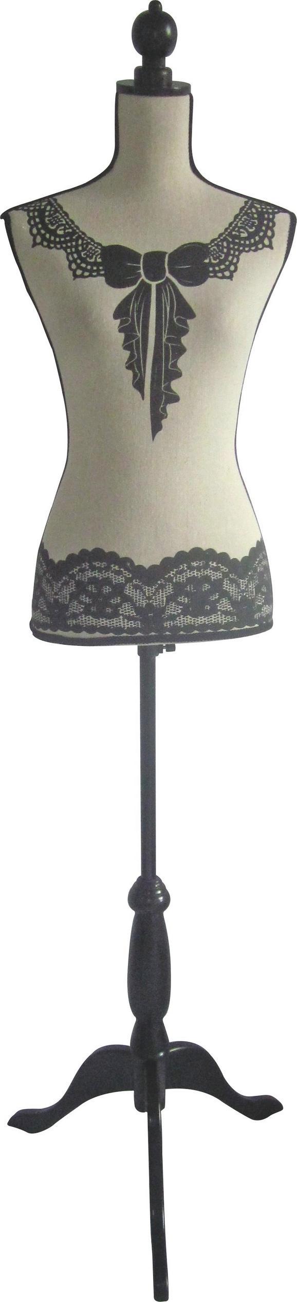 Dekobüste Mannequin in Grau/Weiß - Weiß/Grau, ROMANTIK / LANDHAUS, Holzwerkstoff/Textil (35/170/21cm) - Mömax modern living