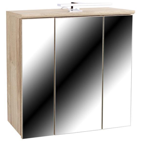 Dulap Cu Oglindă Mindi - alb/culoare lemn stejar, Konventionell, plastic/sticlă (68,8/69,4/21cm)