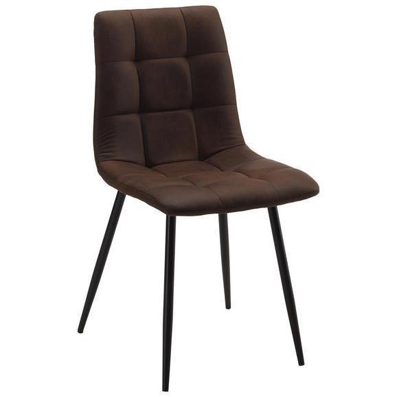 Stol Nino - črna/rjava, Trendi, kovina/tekstil (46/89/54,5cm) - Modern Living