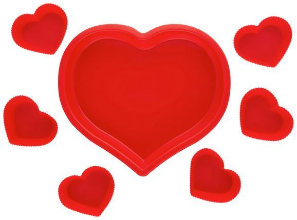 Backformenset Heart Rot - Rot, Kunststoff (25,8/5/23,7cm)
