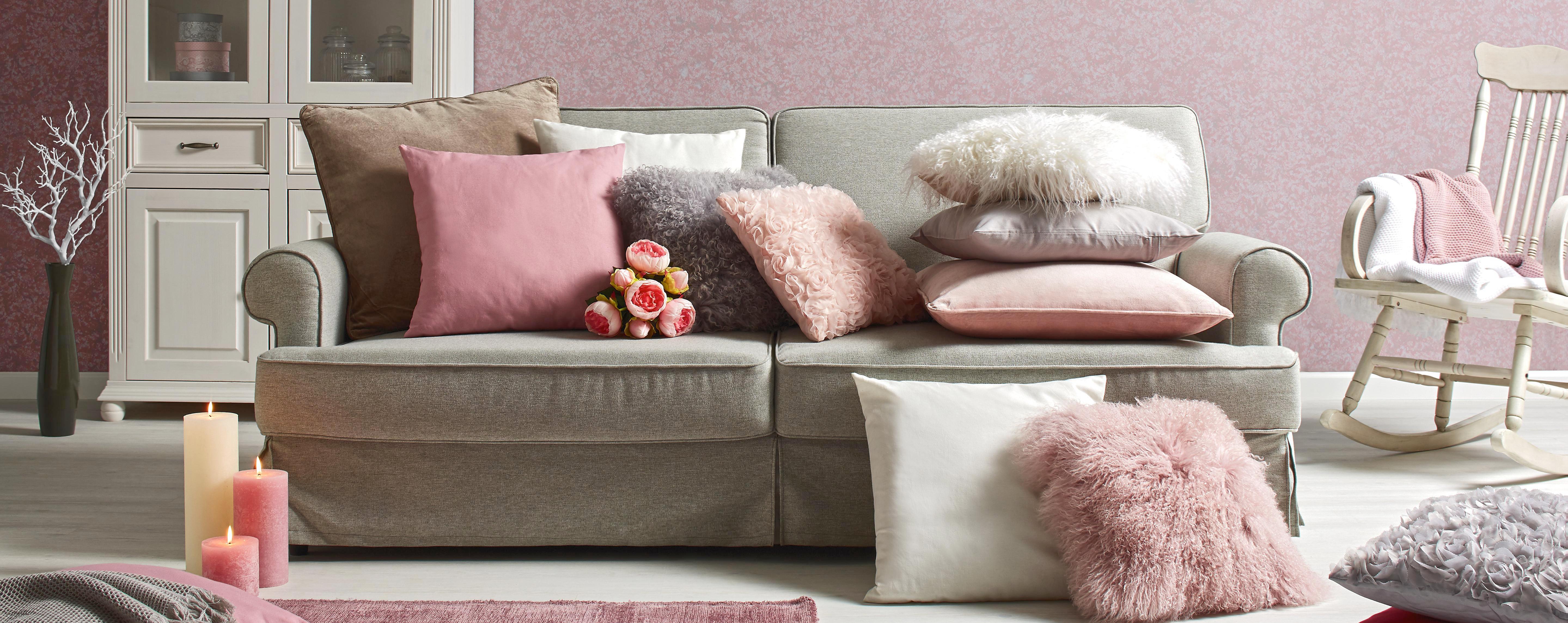 Zierkissen Shaun In Rose, ca. 40x40cm - Rosa, Textil (40/40cm) - PREMIUM LIVING