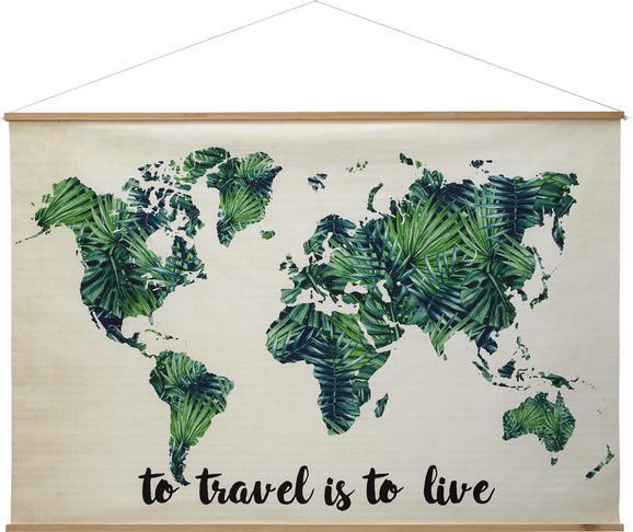 Wanddeko World Grün/natur - Multicolor/Naturfarben, Holz/Kunststoff (120/80cm) - Mömax modern living