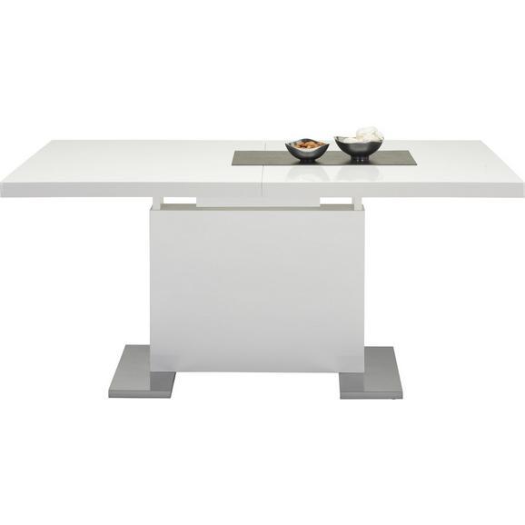 Jedilna Miza Campino Ca. 160-200x90 Cm - bela/krom, Moderno, kovina/leseni material (160-200/76/90cm) - Premium Living