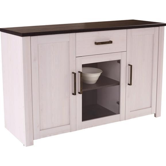 Komoda Provence - bijela/prozirno, Romantik / Landhaus, drvni materijal/metal (153,9/82,3/42cm) - Modern Living