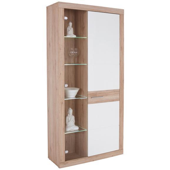 Vitrină Malta - alb/culoare lemn stejar, Modern, plastic/sticlă (96/197/35cm)