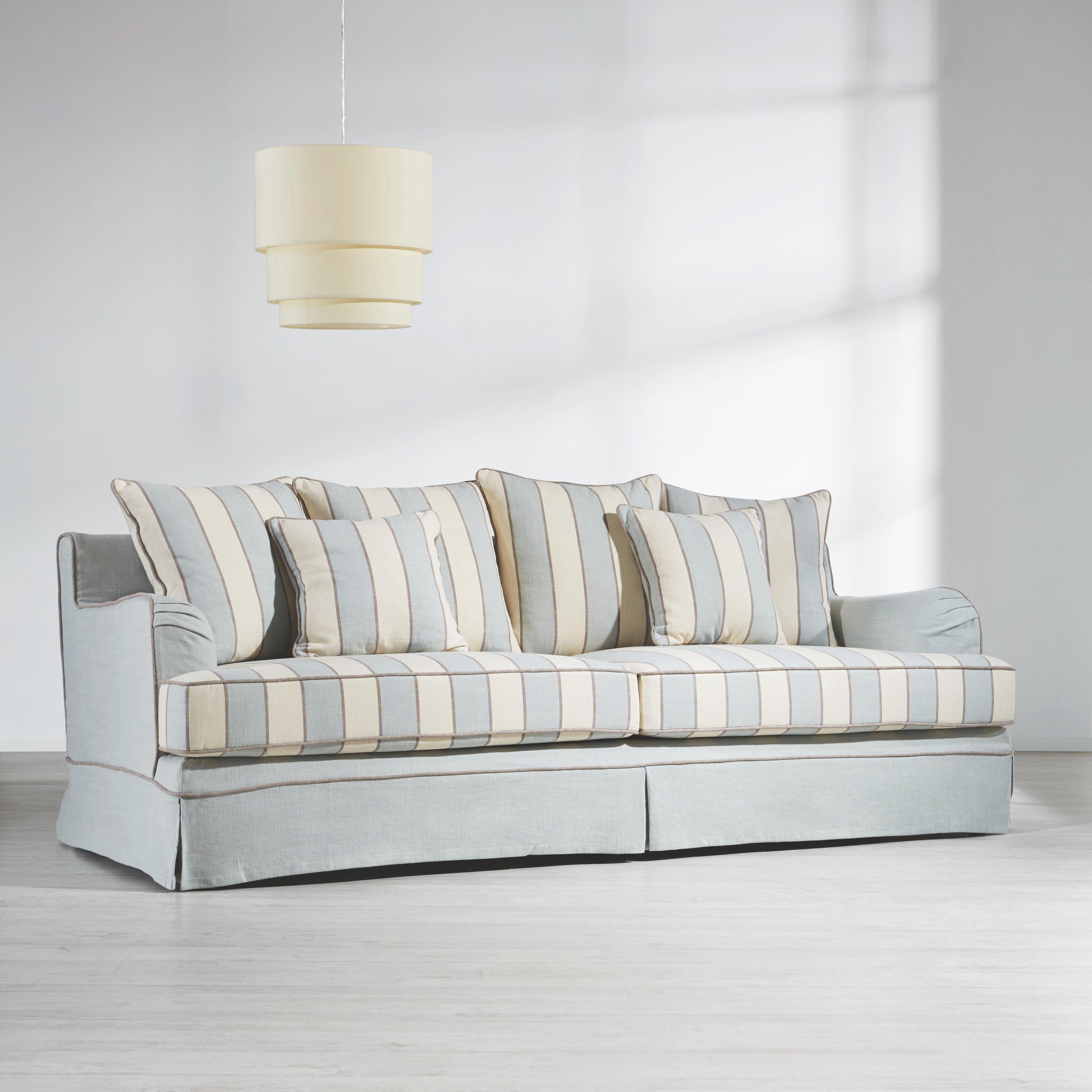 Viersitzer Sofa New Hampton - Naturfarben/Hellblau, KONVENTIONELL, Holz/Textil (220/70/96cm) - PREMIUM LIVING