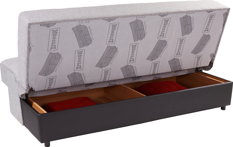 Kanapé Boston - fekete/szürke, konvencionális, textil/faanyagok (187/90/85cm) - OMBRA