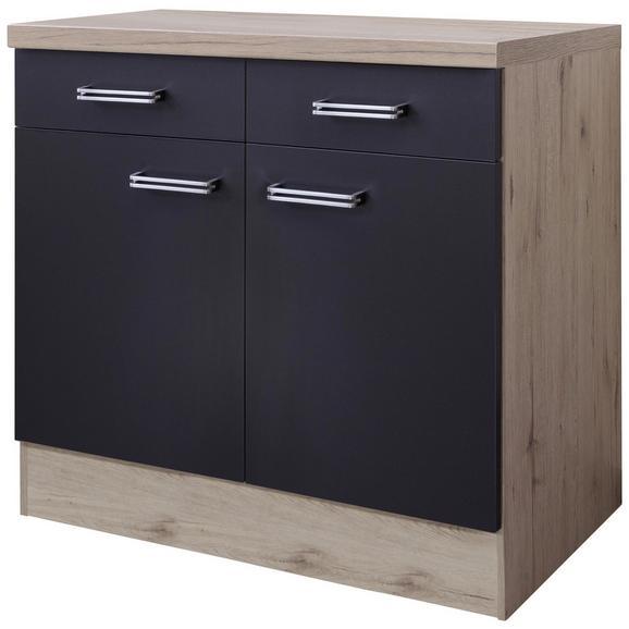 Küchenunterschrank Anthrazit/Eiche - Edelstahlfarben/Eichefarben, MODERN, Holzwerkstoff/Metall (80/86/60cm) - FlexWell.ai