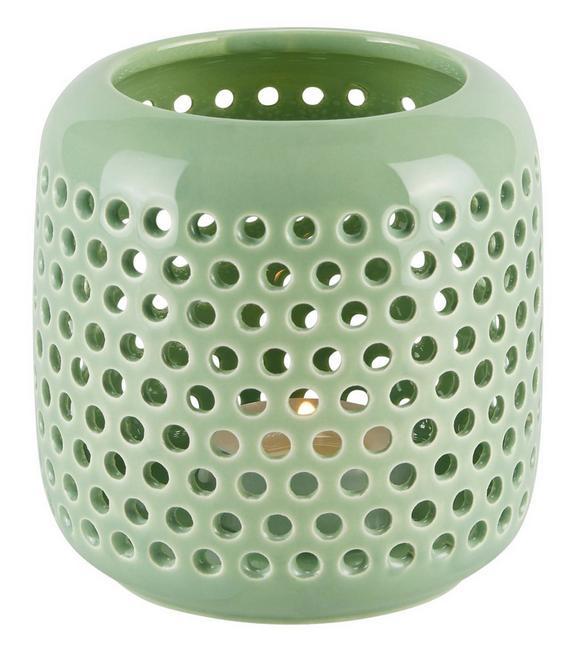 Windlicht Amelie in Grün aus Keramik - Grün, LIFESTYLE, Keramik (9,5cm)