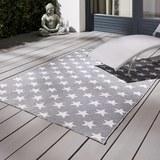 Outdoorteppich in Grau/Weiß ca.120x170cm 'Stars' - Weiß/Grau, MODERN, Textil (120/170cm) - Bessagi Garden