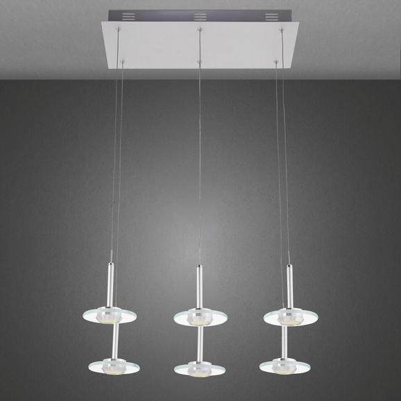 Pendelleuchte Lou mit Led 6-flammig - Silberfarben, MODERN, Glas/Metall (48/23/120cm) - Premium Living