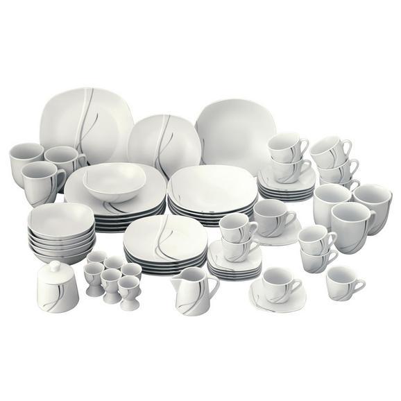 Kombiservice Silver Night, 62-teilig - Weiß, KONVENTIONELL, Keramik (43/32/29cm)