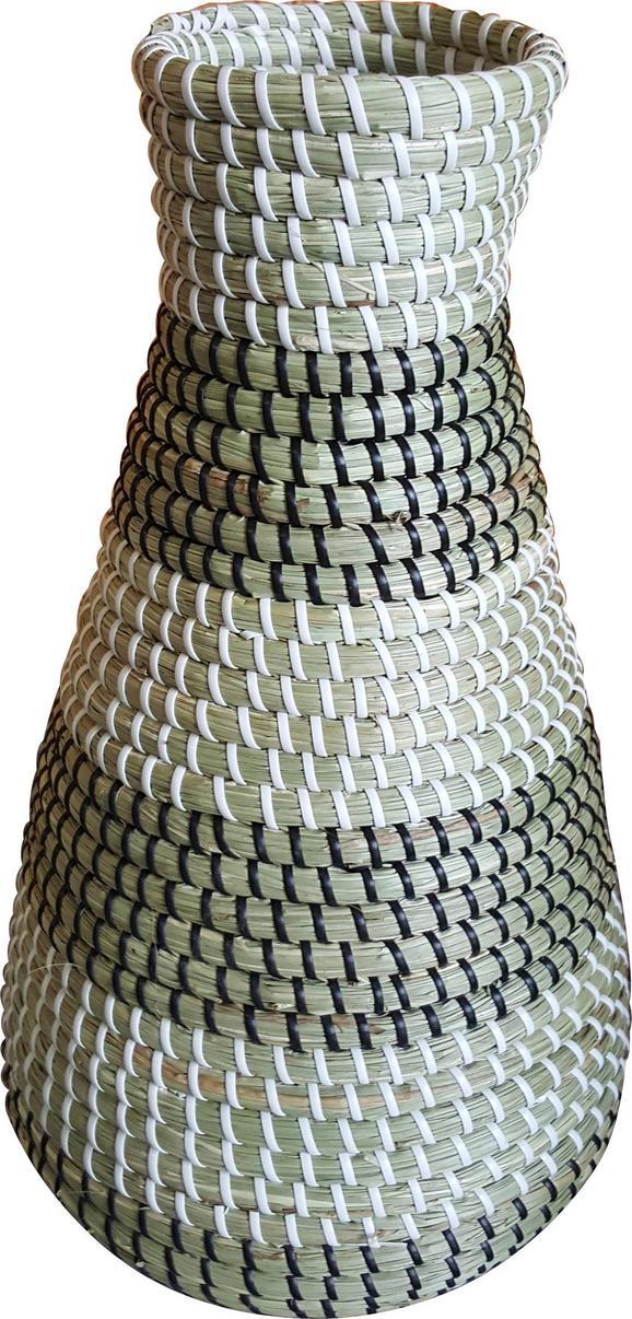 Korbvase Luis in Weiß/Schwarz/Natur - Schwarz/Naturfarben, Kunststoff/Weitere Naturmaterialien (22/40cm) - Mömax modern living