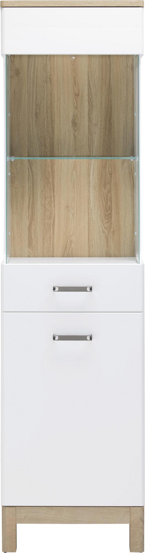Vitrine Weiß/Eichefarben - Chromfarben/Eichefarben, MODERN, Glas/Holzwerkstoff (50/198/37cm) - MÖMAX modern living