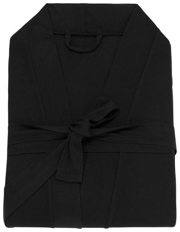 Morgenmantel Victoria Schwarz, XL - Schwarz, Textil (XL,XXL) - Premium Living