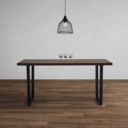 Esstisch in Walnussfarben Dave ca. 160x90cm - Walnussfarben/Schwarz, MODERN, Holz/Metall (160/90/76cm) - Bessagi Home