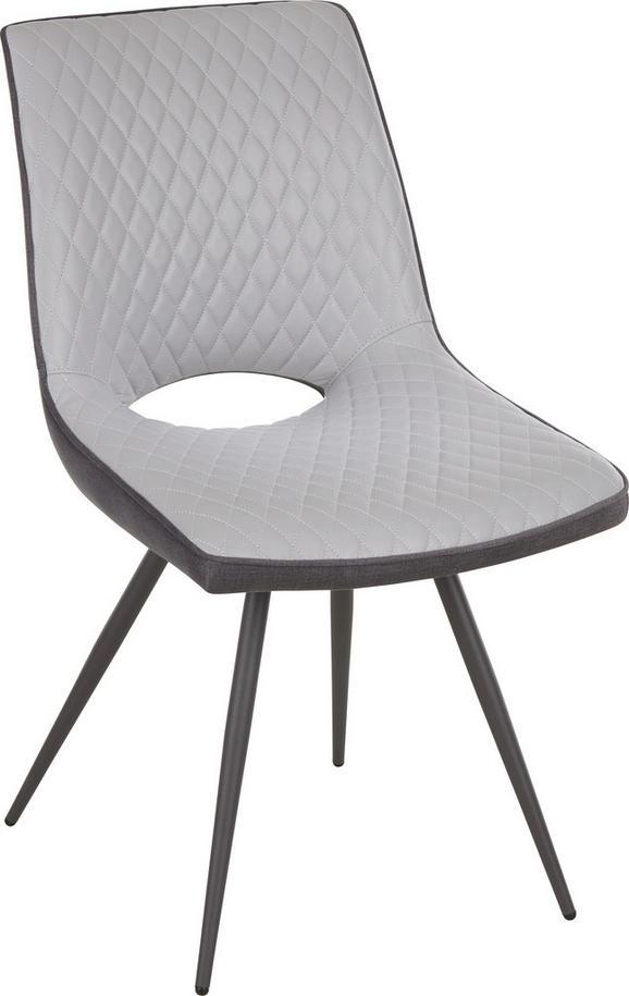 Stuhl in Grau - Dunkelgrau/Schwarz, MODERN, Textil/Metall (64,5/86/47cm) - MODERN LIVING