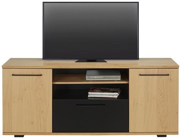 TV-Element Schwarz/Eiche - Eichefarben/Schwarz, LIFESTYLE, Holzwerkstoff (160/66/43cm) - Zandiara
