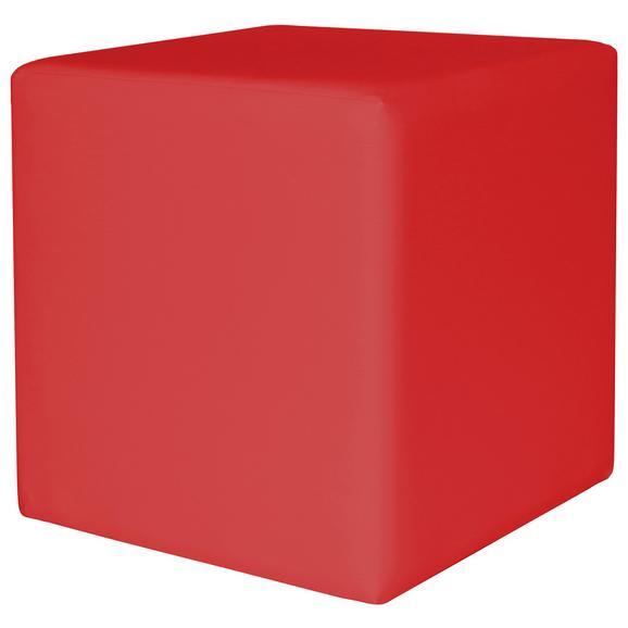Taburet Colorfull Cube - bej/roșu, Modern, plastic/textil (40/40/42cm)