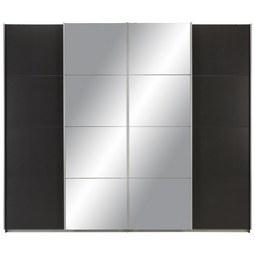 Schwebetürenschrank in Grau mit Spiegel - Alufarben, KONVENTIONELL, Holzwerkstoff/Metall (270/230/62cm) - Modern Living
