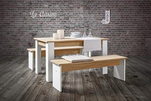 Tischgruppe in Eiche/Weiß - Eichefarben/Weiß, MODERN, Holzwerkstoff (138,5/45/75/37/80cm) - Based