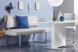 Esstisch Weiß/chrom Hochglanz - Chromfarben/Weiß, MODERN, Holzwerkstoff/Metall (140/75/90cm) - Premium Living