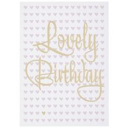 Postkarte Lovely Birthday - Goldfarben/Rosa, MODERN, Papier (10,5/14,8cm)