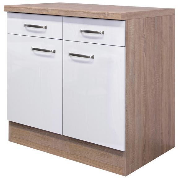 Küchenunterschrank Weiß Hochglanz/Eiche - Edelstahlfarben/Eichefarben, MODERN, Holzwerkstoff/Metall (80/86/60cm) - FlexWell.ai