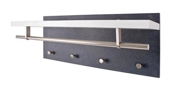 Stenski Obešalnik Pablo 3 Granit - bela/antracit, Moderno, kovina/leseni material (75/30/26cm)