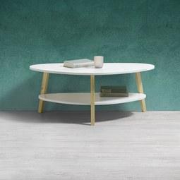 Couchtisch Enno ca.92x50cm - Weiß/Pinienfarben, MODERN, Holz (92/50/37cm) - Modern Living