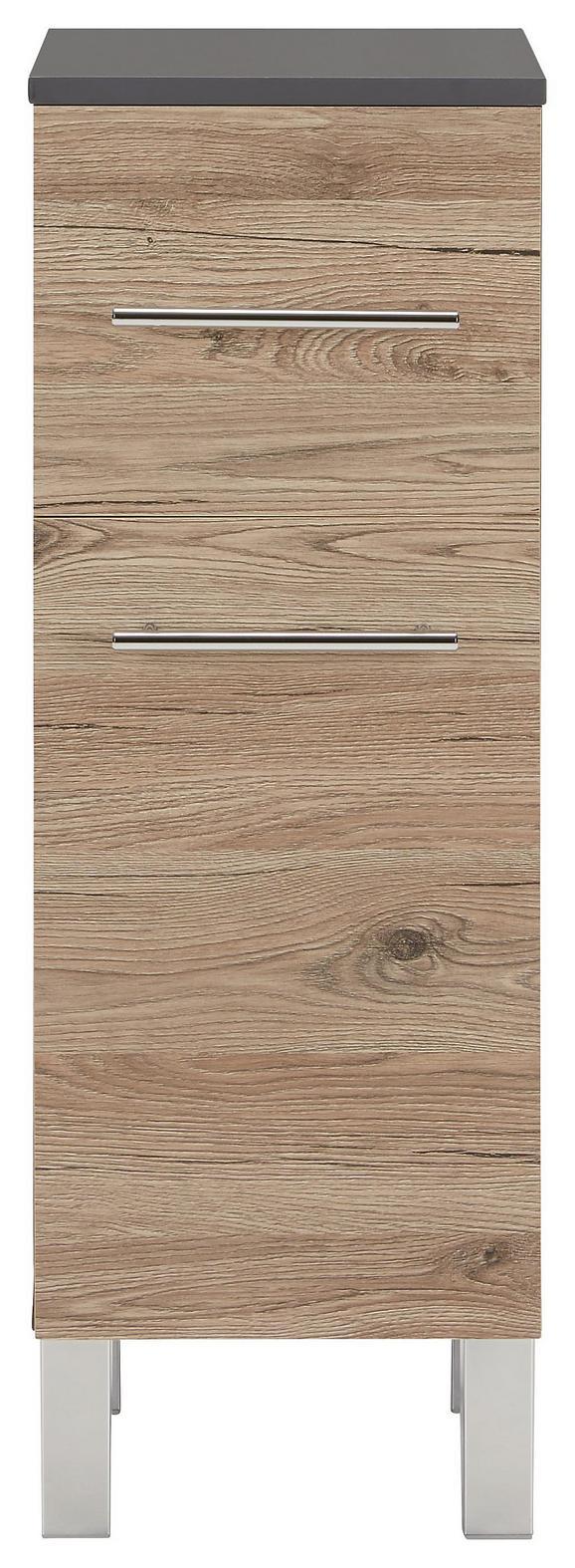 Unterschrank Eiche/Anthrazit - Chromfarben/Eichefarben, MODERN, Holzwerkstoff/Metall (31/86/32cm)
