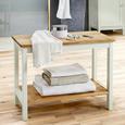 Bank Jule - Buchefarben/Weiß, MODERN, Holz (60/45/33cm) - Modern Living