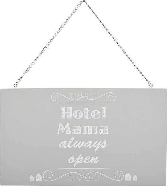 Okrasna Tablica Reimi - Hotel Mama.. -top- - siva/bela, kovina/leseni material (23,2/13,5/0,5cm) - Mömax modern living