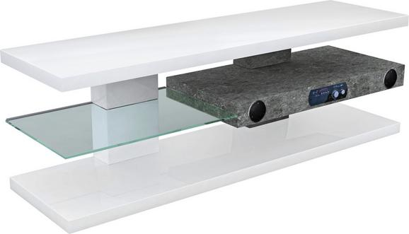MÉDIAÁLLVÁNY ADRIANO - Fehér, modern, Faalapú anyag/Üveg (140/45/39cm)