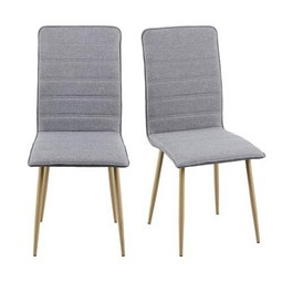 Stuhl in Hellgrau 'Cilia' - Hellgrau, MODERN, Textil/Metall (45/91/56,50cm) - Bessagi Home