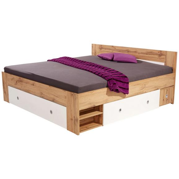 Postelja 180x200 Cm Azurro - bela/hrast, Moderno, leseni material (204/75/185cm) - Mömax modern living