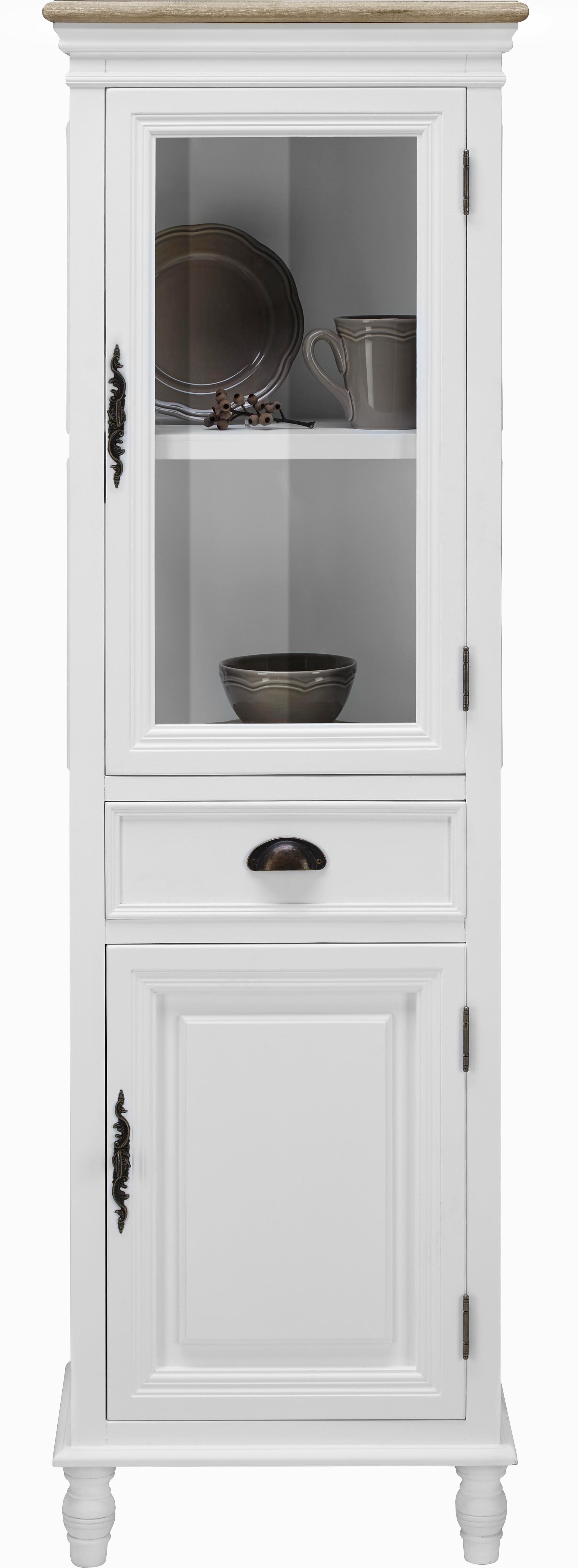 Vitrine Claudia Vintage - Weiß, KONVENTIONELL, Glas/Holz (49/160/32cm) - MÖMAX modern living