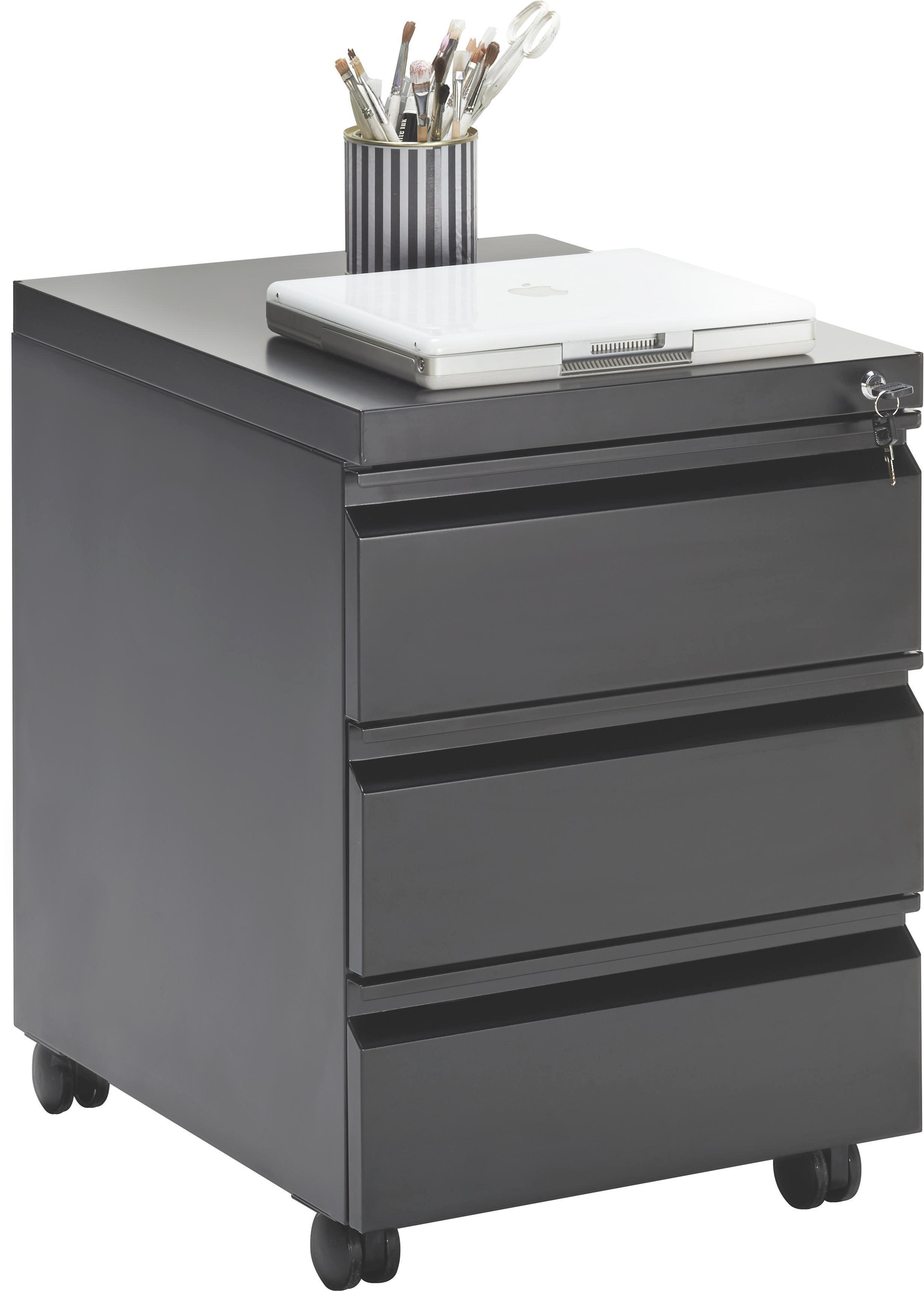 Rollcontainer in Schwarz - Schwarz, Kunststoff/Metall (41/57/50,3cm) - MÖMAX modern living