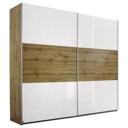 Schwebetürenschrank in Eichefarben - Eichefarben/Alufarben, KONVENTIONELL, Holzwerkstoff/Metall (218/210/59cm) - Modern Living