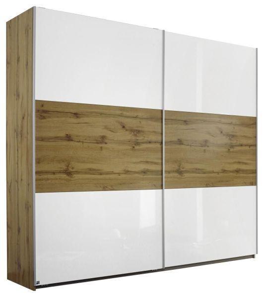 Schwebetürenschrank Weiß Hg/eichefarben - Eichefarben/Alufarben, KONVENTIONELL, Holzwerkstoff/Metall (218/210/59cm) - Modern Living