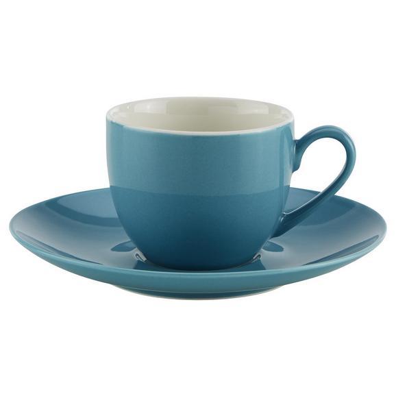 Skodelica S Krožničkom Sandy - modra, Konvencionalno, keramika (6,4/5cm) - Mömax modern living